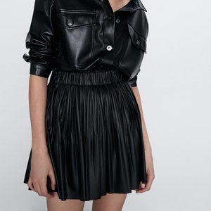 Zara FAUX LEATHER SKIRT-BLACK-2969/243-mini